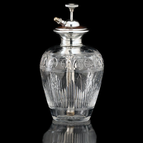 c.1920s Engraved Crystal Scent Perfume Spray Atomizer