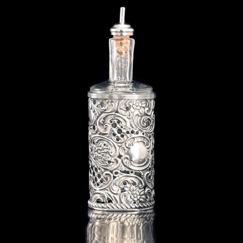 1901 sterling silver scent perfume stand with eau de cologne bottle