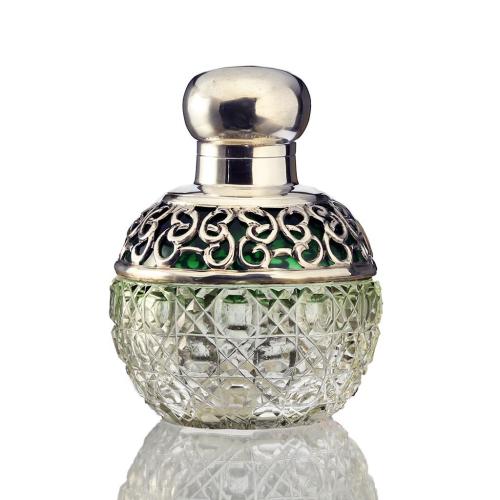 1905 Spherical Crystal Scent Perfume Bottle, Sterling Mounts