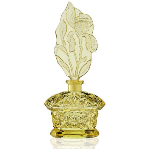 c.1930s Czech Deco citrine cut glass scent bottle & stopper #2