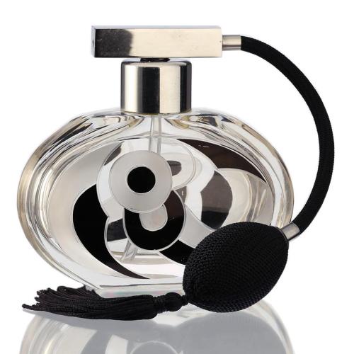 c.1930s Czech black enamelled Deco glass dressing table scent perfume spray atomizer