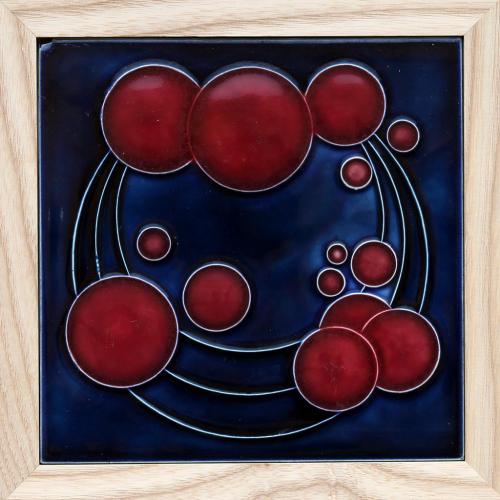 c.1910 NSTG German Modernist Bubble Tile, Framed