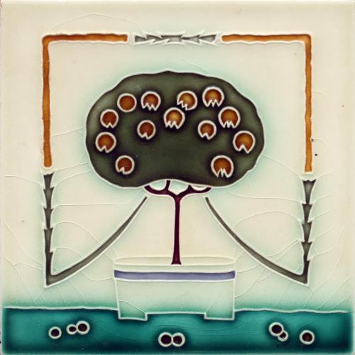 c.1910 Wessel German Art Nouveau Tree Tile