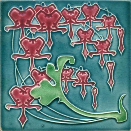 c.1910 German Art Nouveau Fuchsia Tile by Servais Werke