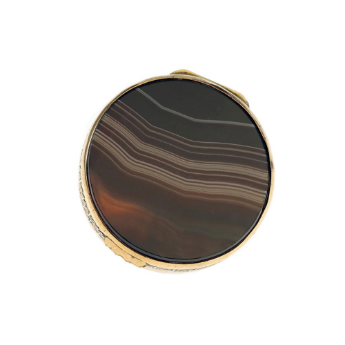 c.1920s Double Sided Agate Pill Box, Copper Mount