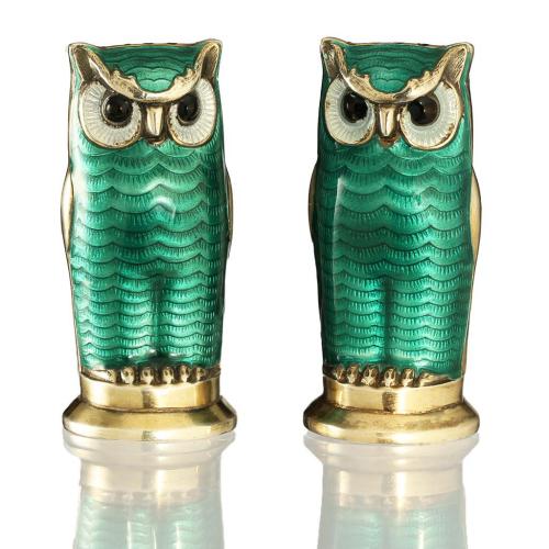 Vintage David Anderson Norway 925 silver & guilloche owl condiment set