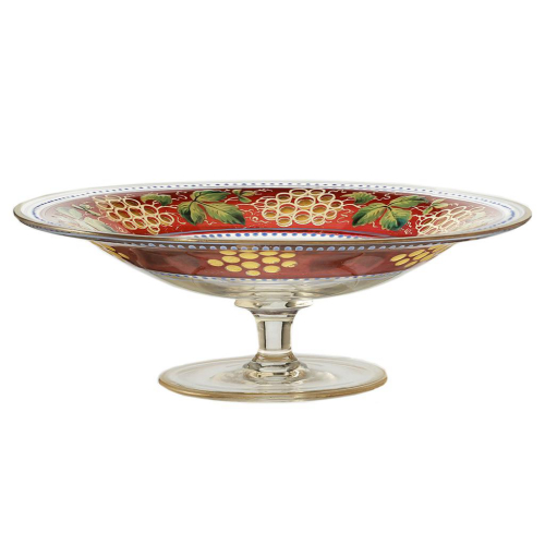 c.1910 Bohemian Gilded & Optic Enamelled Footed Glass Dish Tazza