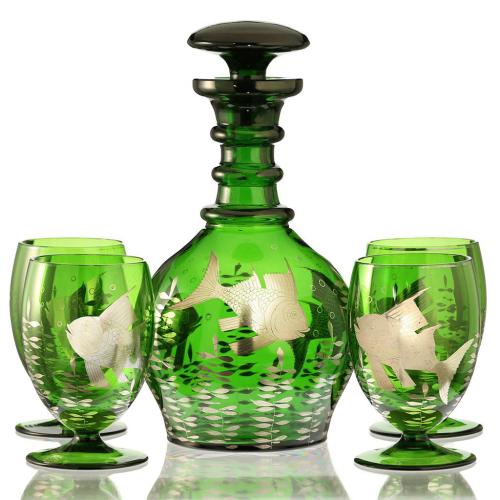 c.1950s Retro Emerald Glass Decanter & Four Glasses with Fish Decoration