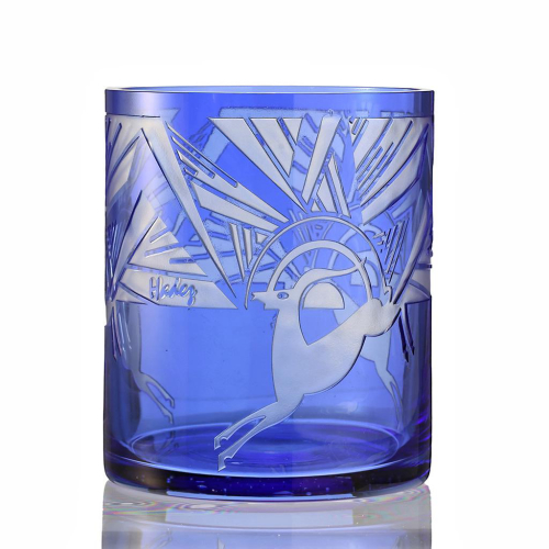 c.1930s Hadez Art Deco Acid Etched Blue Glass Gazelle Vase