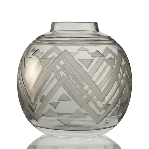 c.1930s Acid Etched Art Deco Glass Vase, Possibly Scailmont, Signed PD Henri Heemskerk