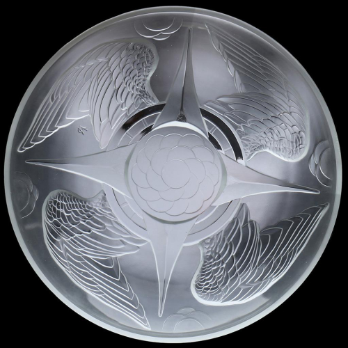 c.1930s Verlys France Glass Wings Dish Charger, Pierre d'Avesn