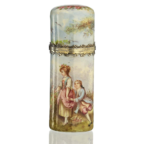 c.1870 French enamelled scent perfume bottle, silver gilt mounts