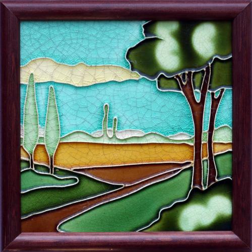 Art Nouveau vista tile, possibly Wessel, framed