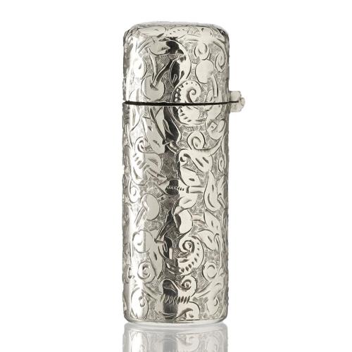 1897 Sampson Mordan Engraved Silver Scent Perfume Bottle