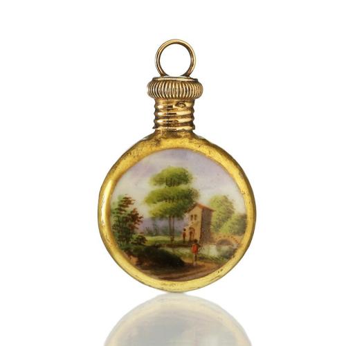 c.1870 French Miniature Porcelain Scent Perfume Bottle, Silver Gilt Top