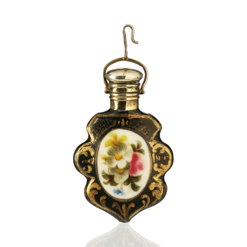 c.1870 French Miniature Porcelain Scent perfume Bottle, Silver Gilt Top