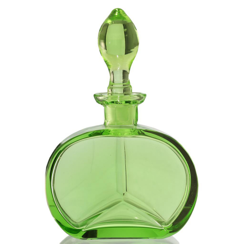 c.1930s Czechoslovakian Green Glass Deco Scent Perfume Bottle