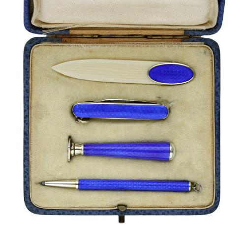 c.1920s 935 Silver & Guilloche Travel Desk Set, Boxed