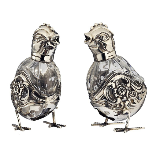 c.1950s Pair of 835 Albo Silver & Glass Chicken Condiments