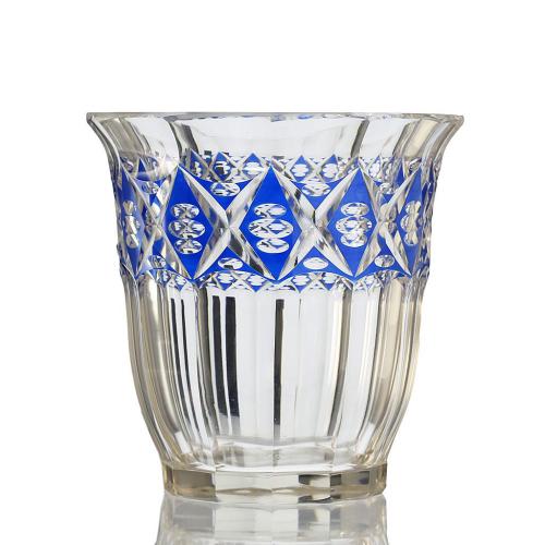 c.1920s Bohemian Blue Enamelled Vienna Cut Glass Vase