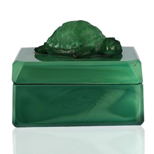 c.1930s Curt Schlevogt Malachite Glass Box and Cover
