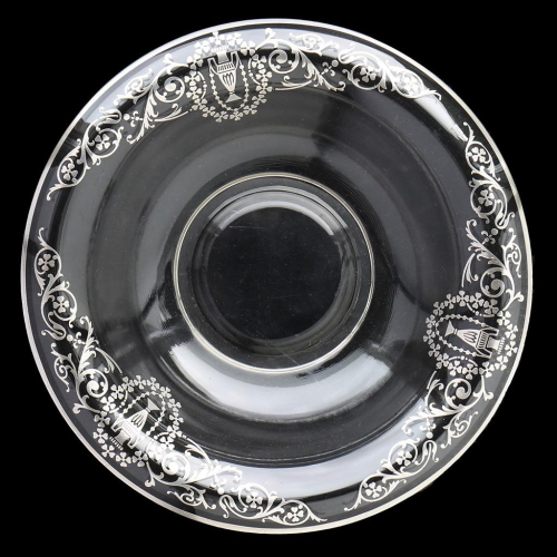 c.1920s Glass Bowl with Sterling Silver Overlay