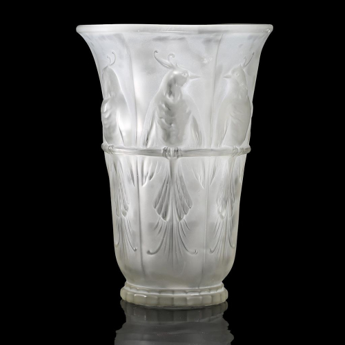 c.1930s Frosted Glass Perruches Vase by Verlux (Etling) France