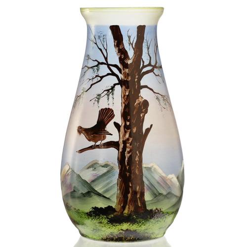 c.1920s-30s French Scenic Enamelled Glass Vase, Probably Joma
