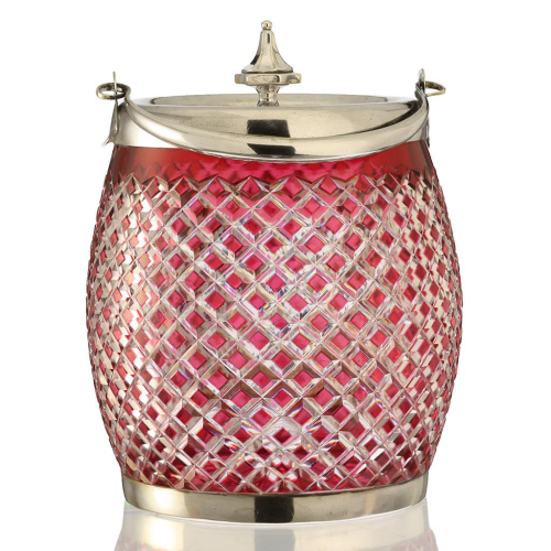 c.1895 Cranberry to Clear Glass Biscuit Barrel Cookie Jar
