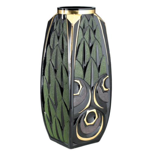 c.1930s Scailmont Belgium Black Deco Glass Vase