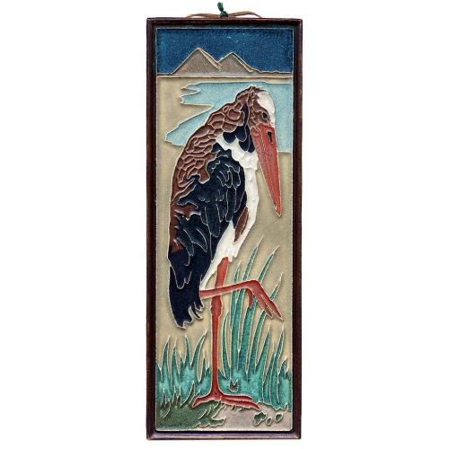 c.1930s De Porceleyne Fles Marabou Stork Tile