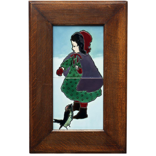 c.1910 Rako Nitzer Two Tile Girl & Bird, Framed