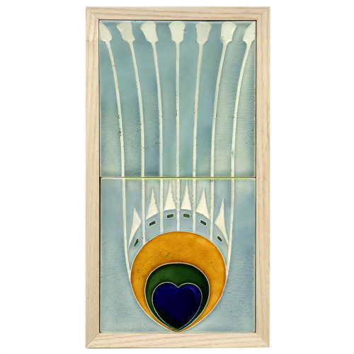 Rare c.1910 NSTG Modernist Two Tile Peacock Feather Set, Framed