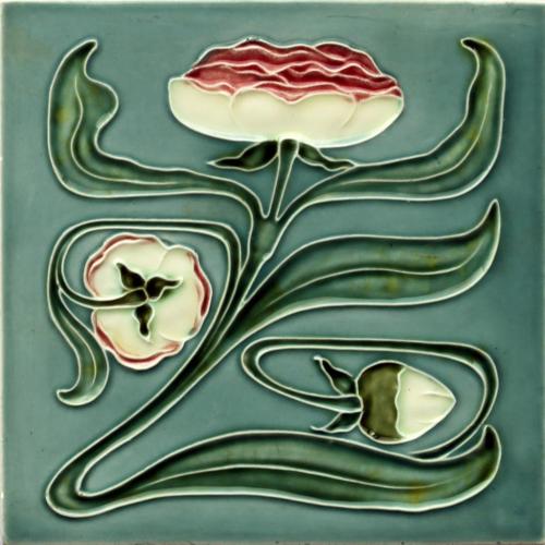 c.1905 Georg Schmider Art Nouveau Floral Tile #3