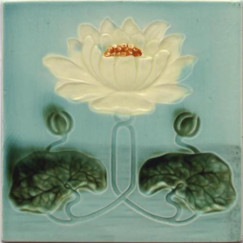 c.1905 Georg Schmider Art Nouveau Water Lily Tile