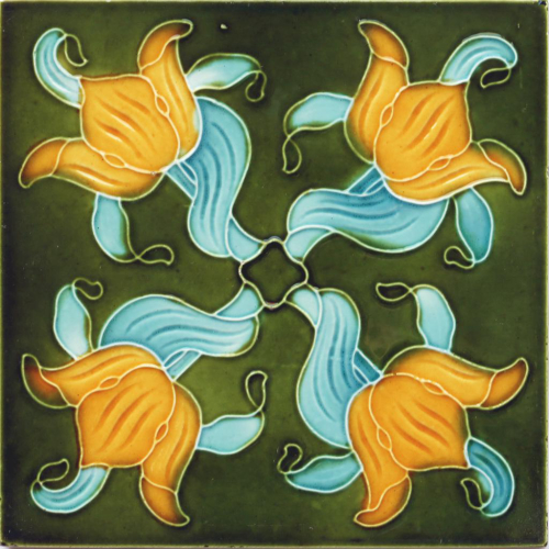 c.1900 H. A. Ollivant English Art Nouveau Tile