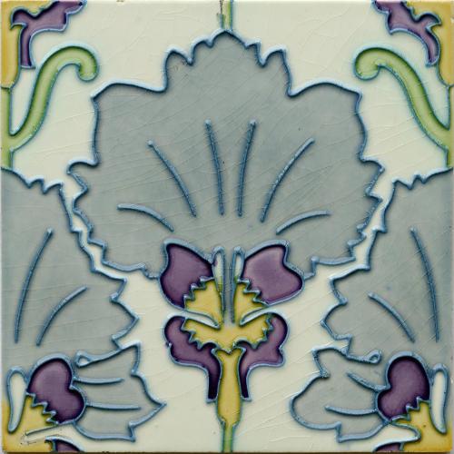 c.1905 Hemiksem Belgium Art Nouveau Floral Tile