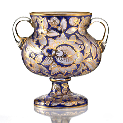 c.1910 Mühlhaus & Co. Haida Cold Enamelled Footed Glass Vase