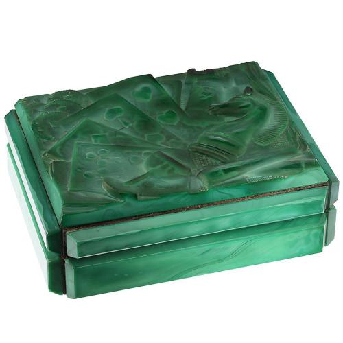 Rare c.1935 Heinrich Hoffmann Art Deco Malachite Glass Table Box