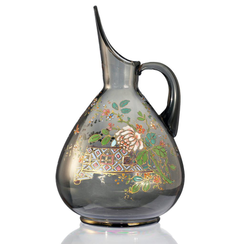c.1900 Aesthetic Movement Enamelled Glass Jug Pitcher, Possibly Theresienthal