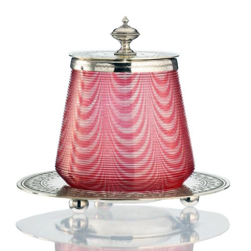 c.1890 Cranberry Thread Glass Jar Barrel, Plated Mounts