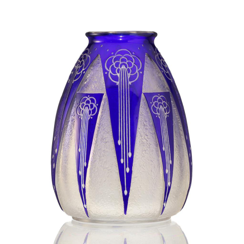c.1930s Cristaux d'Art St. Louis Art Deco Acid Etched Blue Glass Vase