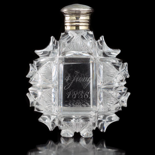 1838 French Cut Crystal Scent Perfume Bottle, Silver Top