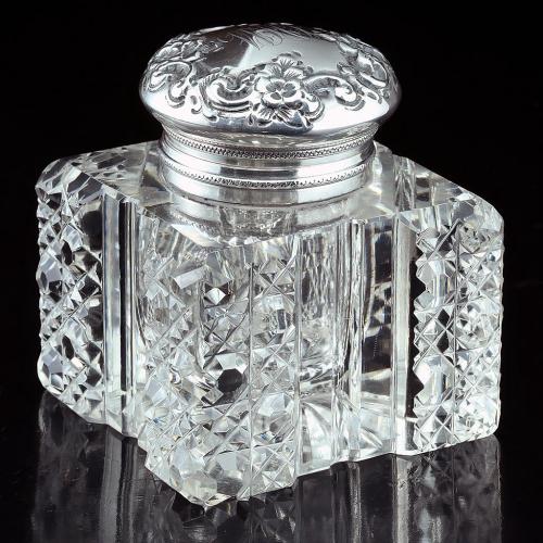 c.1910 Cut Crystal Inkwell, Sterling Silver La Pierre Lid