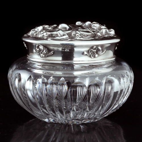 c.1910 Cut Crystal Bowl with Sterling Silver La Pierre Lid
