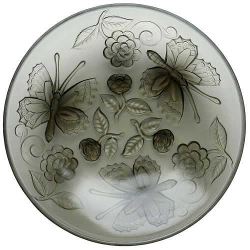 c.1930s French Choisy-le-Roi Art Deco Frosted Glass Butterflies Dish Charger