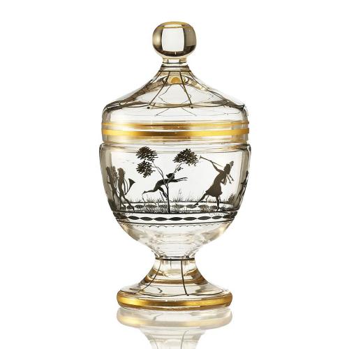 c.1920 Bohemian Black Enamelled Glass Bowl & Cover, Adolf Beckert, Friedrich Pietsch