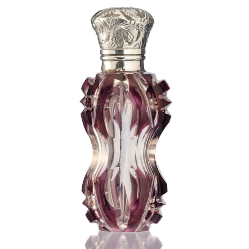 c.1880 Amethyst Overlay Crystal Scent Perfume Bottle, Silver Top
