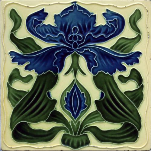c.1905 English Art Nouveau Floral Relief Tile, H. A. Ollivant