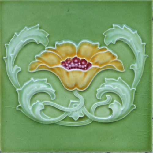 c.1905 Minton Hollins Art Nouveau Floral Tile